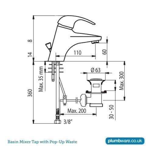 Commercial Basin Mixer Tap With 1 1 4 Quot Pop Up Waste