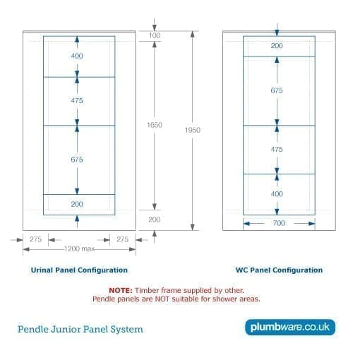 Dimensions for Pendle Junior Panel System