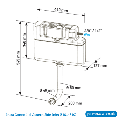 Concealed Toilet Cistern With Dual Flush