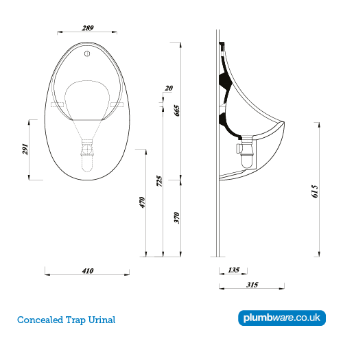 Concealed Trap Urinal Plumbware Co Uk