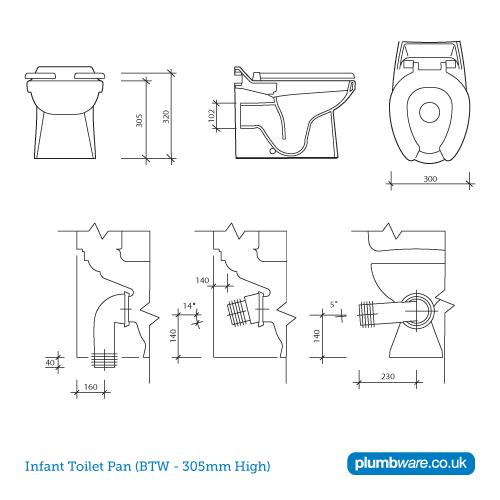 uk toilet seat sizes. Infant School WC Pan  Toilet Dimensions Plumbware Co Uk 300mm