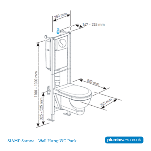 Uk Toilet Seat Sizes. SIMAP Samoa WC and Frame Dimensions  Toilet Seat for 350mm Junior Pan Plumbware co uk